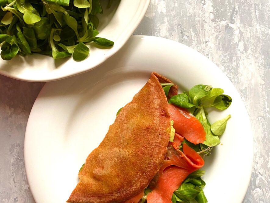 Crepes salate di salmone e rucola senza glutine